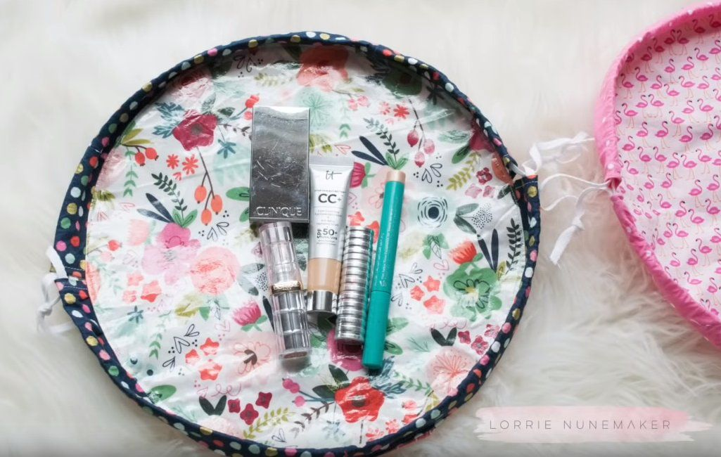 FlatBottom Drawstring Bag Sew and Sell Makeup bag