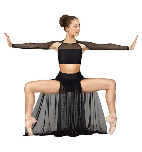 110caaf544f680 Emballe Long Mesh Skirt with Attached Brief - Tutus & Skirts |  DiscountDance.com