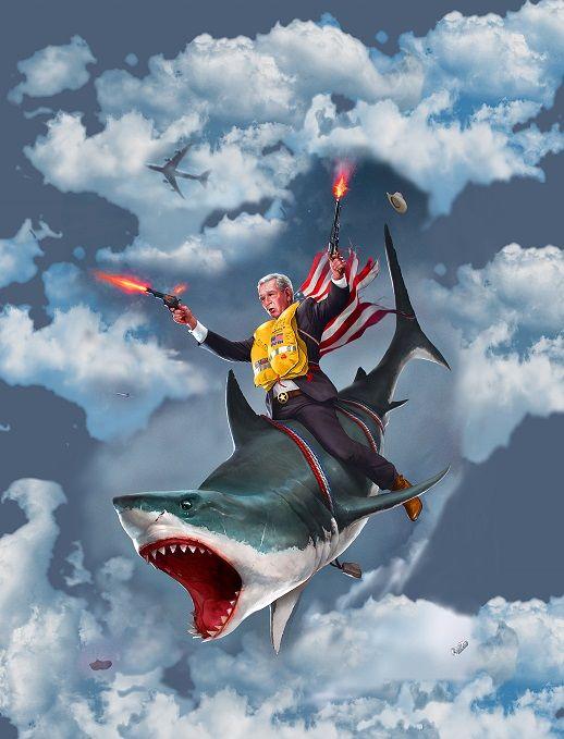 Dubya On The Great White Shark George Bush On A Shark