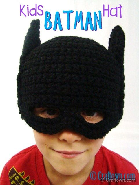 Free Crochet Pattern - Kids Batman Hat | Crochet Hats, Headbands ...