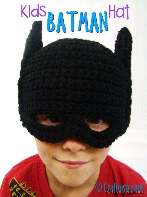 Free Crochet Pattern - Kids Batman Hat | gorros-guantes | Pinterest ...