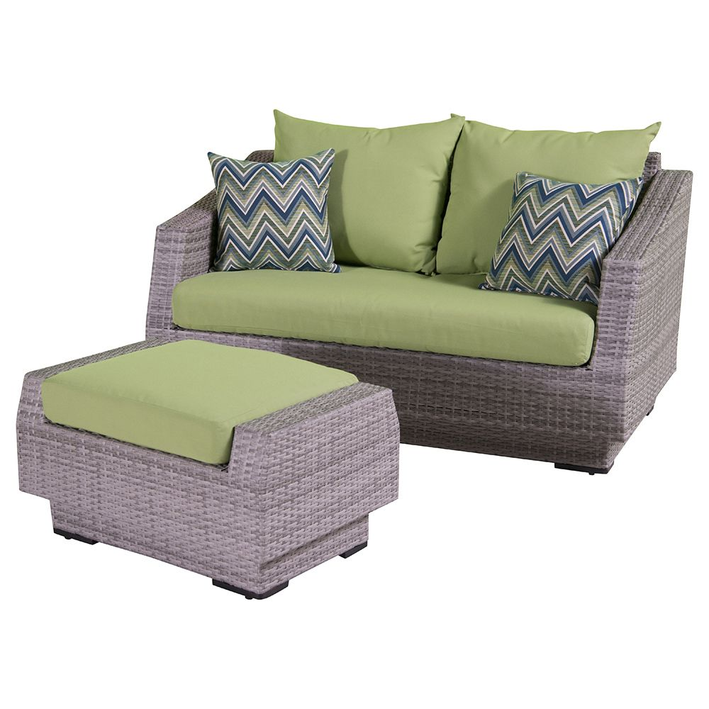 Cannes loveseat and ottoman in ginkgo green cannes