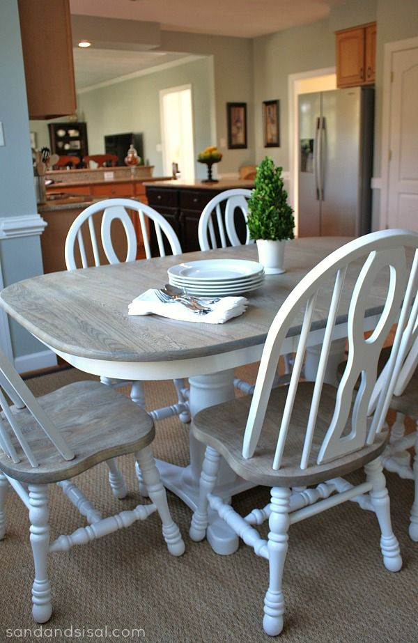 How To Refinish A Table Sand And Sisal Refinished Table Furniture Makeover Home Decor