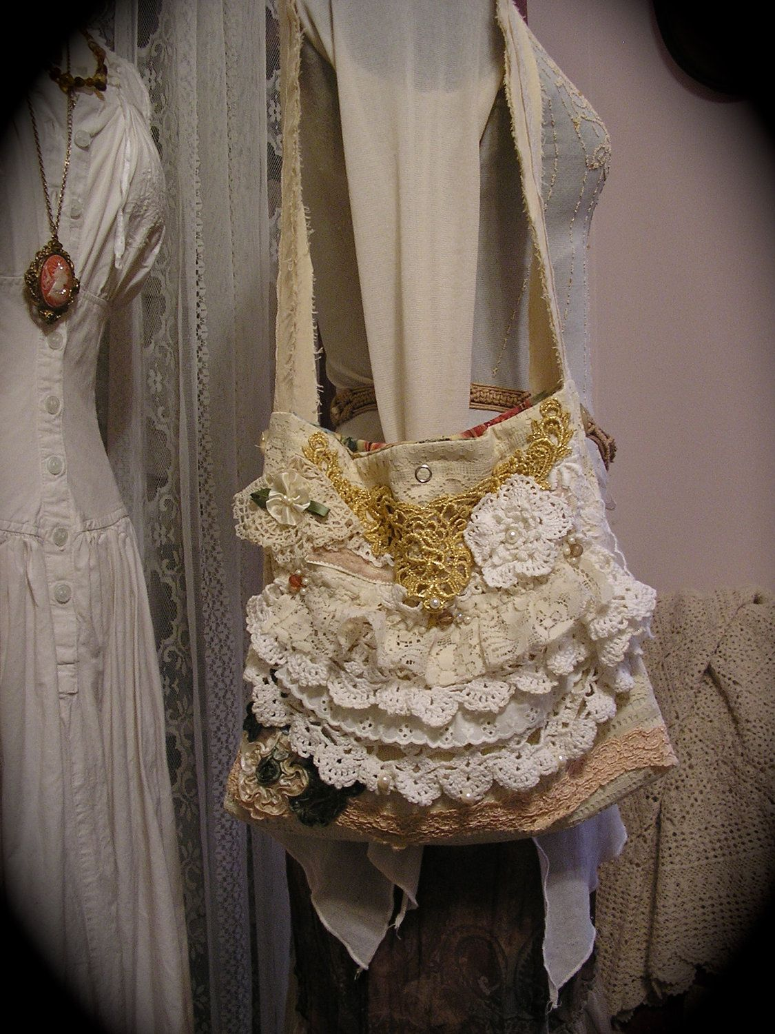 White lace texture bridal layered ruffled - Ruffled Lace Bag Layered Crocheted Doilies Laces Pearls Small Size Lightweight Bag Handmade Cottage Shabby Ooak Victorian Shoulder Bag