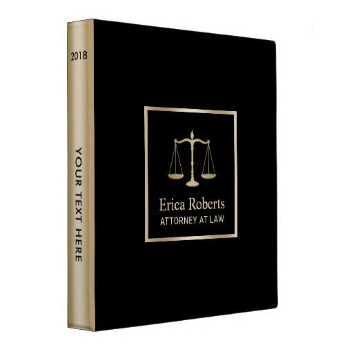 Lawyer Office Modern Black & Gold 3 Ring Binder