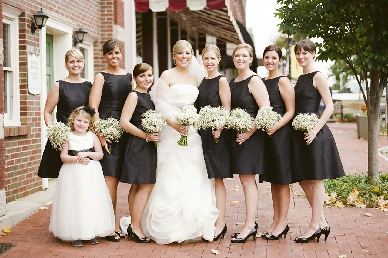 Black bridesmaid dresses clean classic style and babys breath black bridesmaid dresses clean classic style and babys breath bouquets would be ombrellifo Image collections