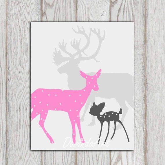 Pink And Gray Girls Room Ideas: Pink Gray Little Girls Bedroom Decor Nursery Art Poster