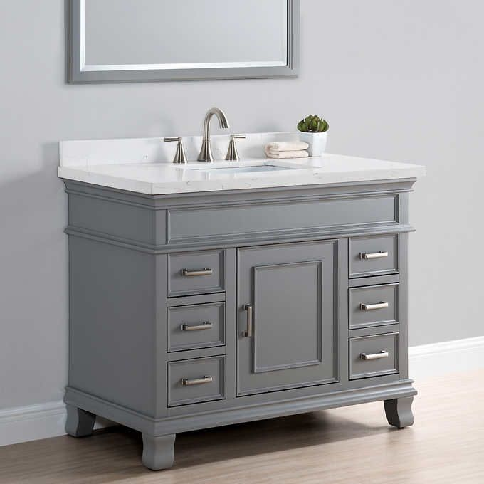 Charleston 42 Quot Gray Vanity By Mission Hills Bathroom Vanity Designs Vanity Design Gray Vanity
