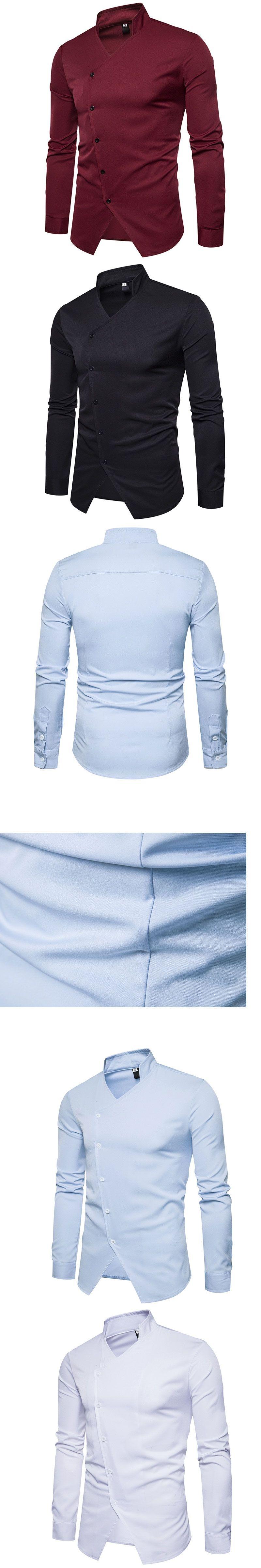 HOT 2017 winter autumn base business evening formal Collar Open fork stylist design long-sleeve shirt male men causal shirts