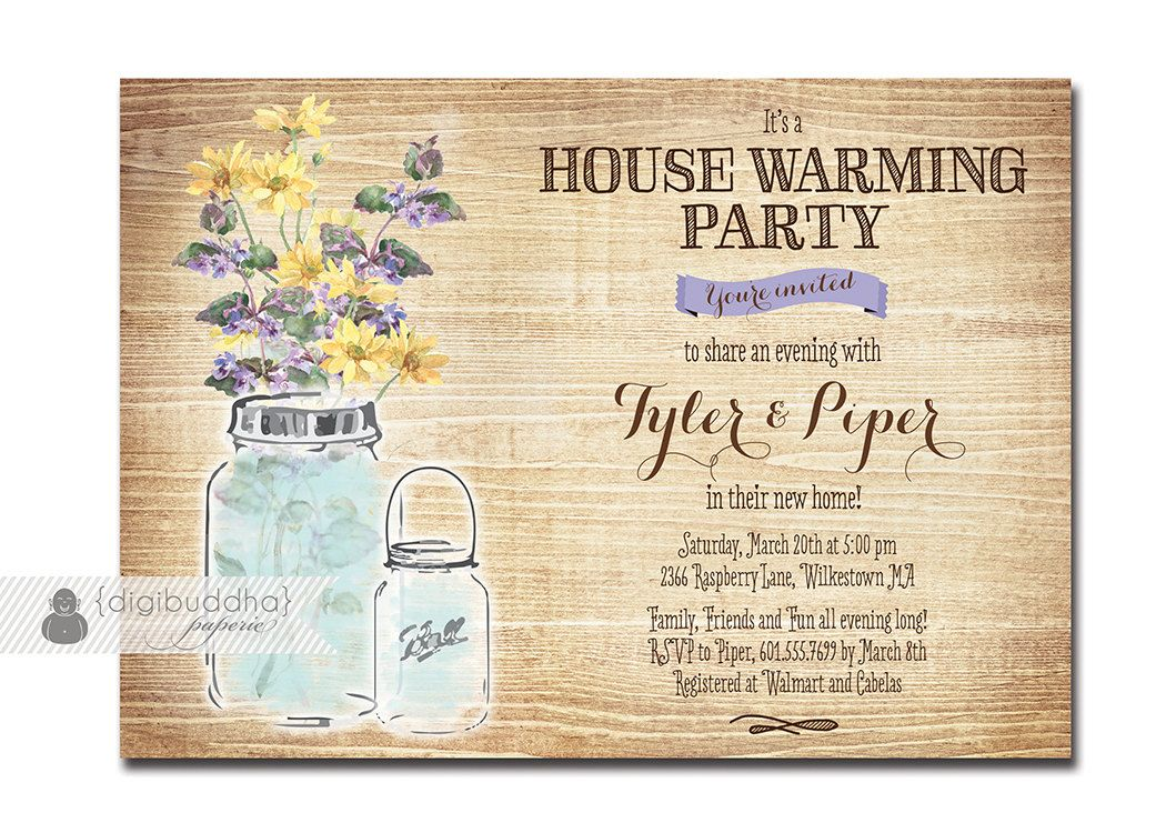 Mason Jar Housewarming Invitation Rustic Wood Watercolor