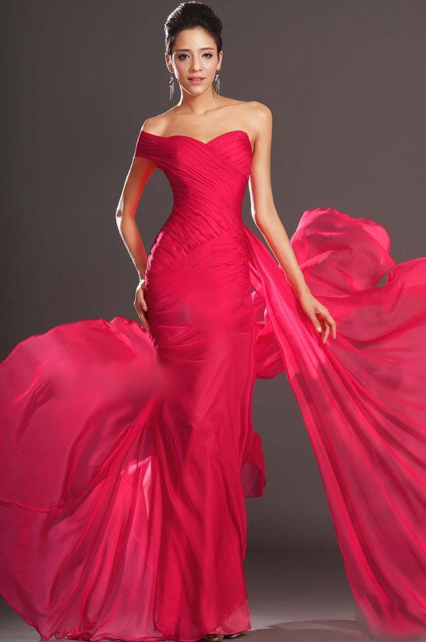 elegant long chiffon ruffles fantasy bridesmaid prom