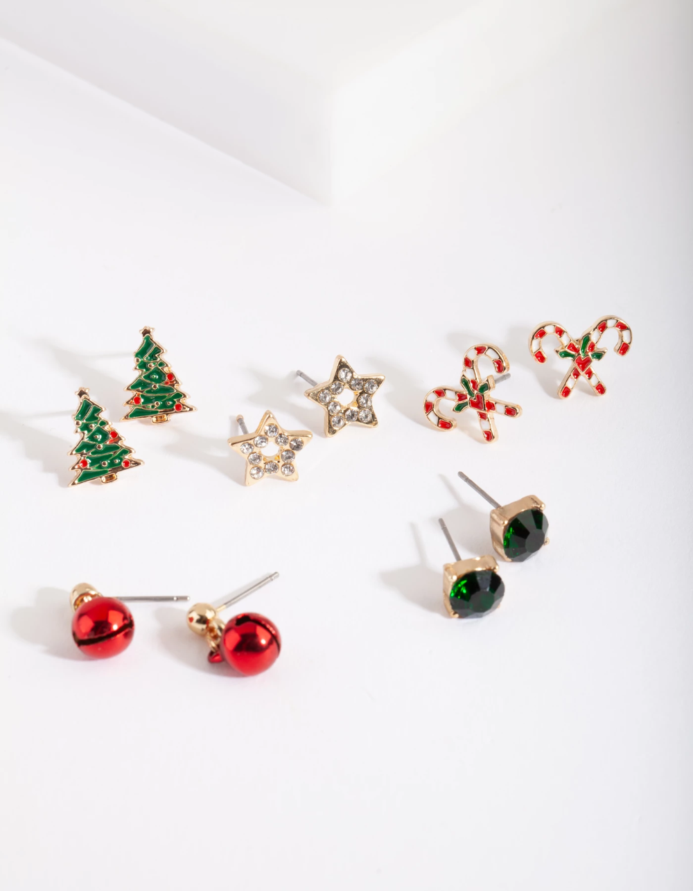 Gold Christmas Tree Stud Earring 5 Pack Stud Earrings Christmas Jewelry Lovisa Jewellery