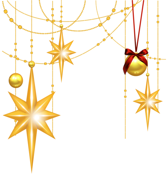 transparent christmas gold stars and ornament clipart