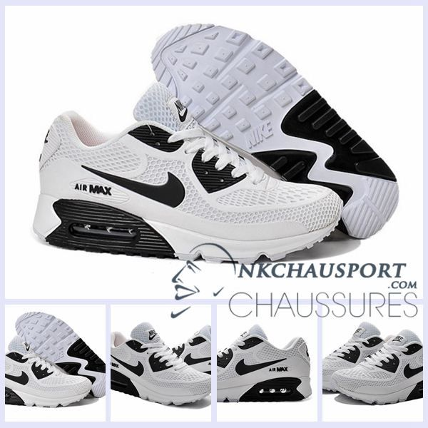 Nike Air Max 90 L'Été   Meilleur Chaussures Running Homme Blanche Noir