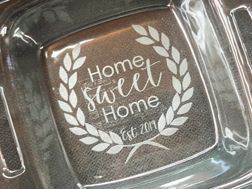 Home sweet home custom personalized pyrex glass baking