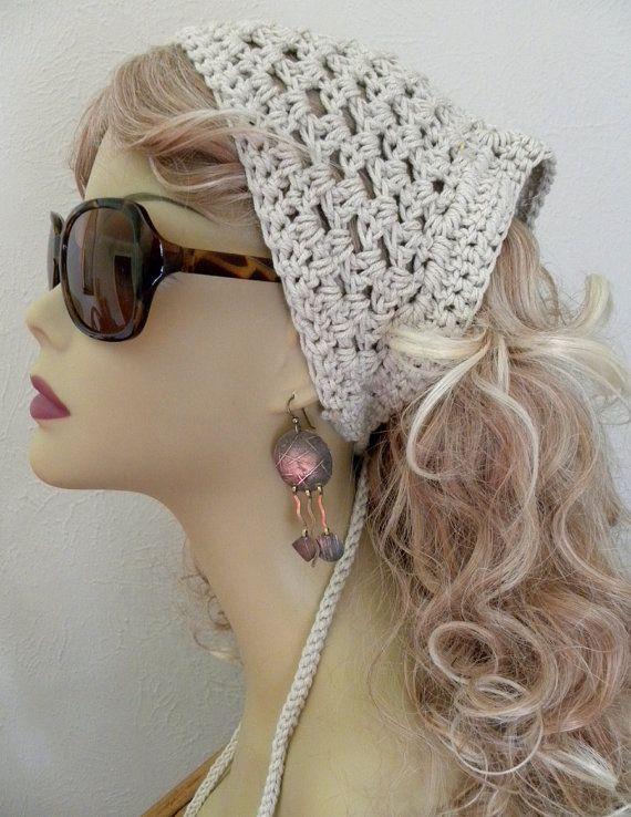 Boho Chic Crocheted Cotton bandana/ headscarf Ecru Natural Off White ...
