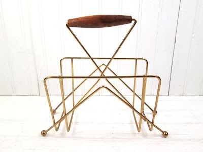 Mid-mod Brass wire and wood napkin holder