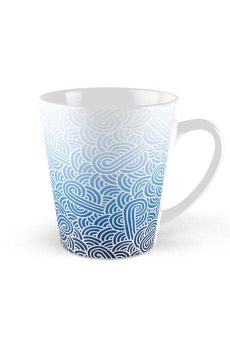 """""""Ombre blue and white swirls zentangle"""" Tall Mug by @savousepate on @redbubble #pattern #drawing #doodles #zentangle #abstract #ombreblue #blue #pastelblue #white #gradientblue"""
