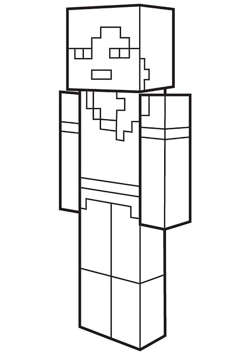 Alex Skin High Quality Free Coloring From The Category Minecraft More Printable Pictures On Our Website Babyhouse Info ぬり絵 塗り絵 ぬりえ