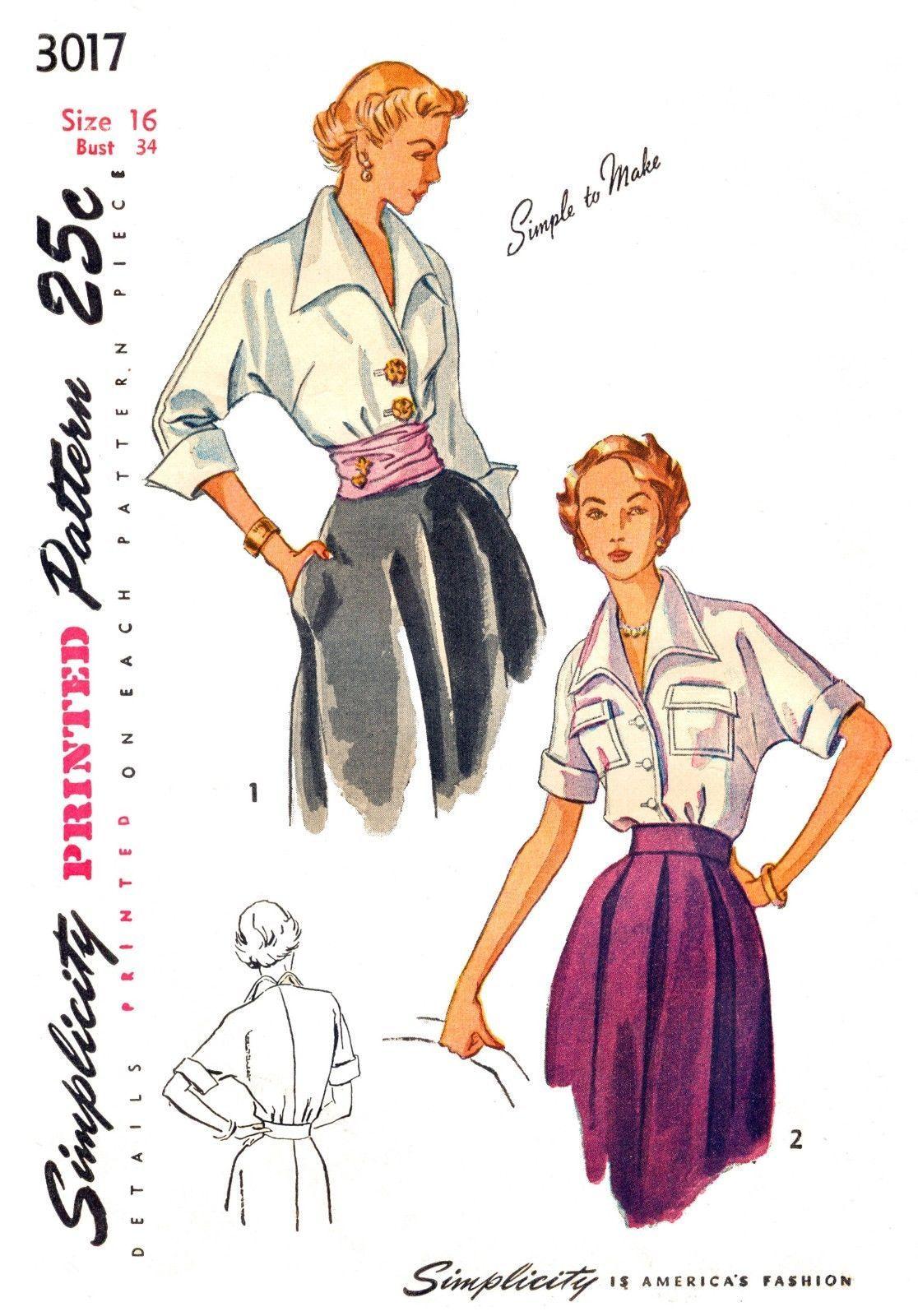 Vintage 1950\'s Blouse and Cummerbund Pattern 2 Designs Size 16 34 ...