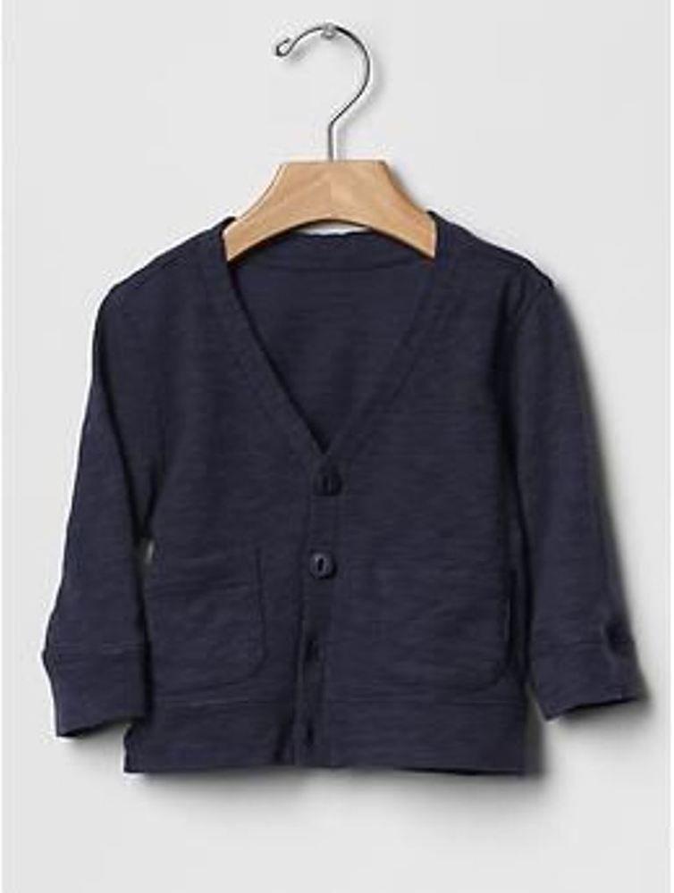 1fc017d0d422 GAP Baby Boy Slub V-neck Knit Cardigan Pockets 100% Cotton Navy Blue ...