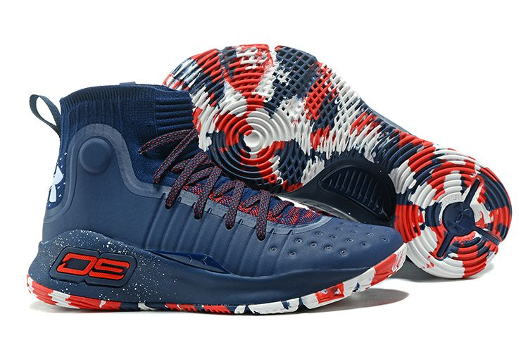 red and blue under armour shoes