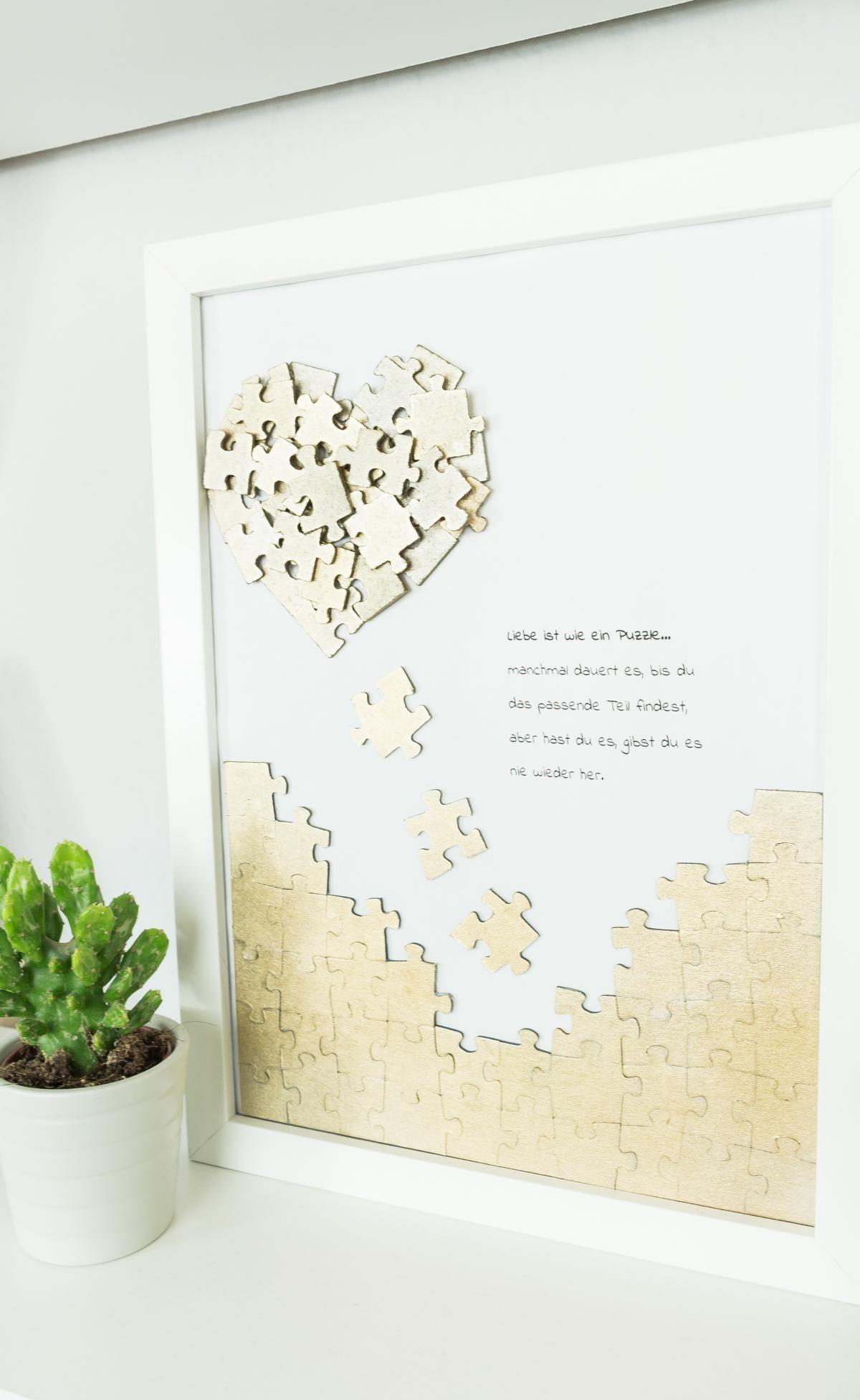 puzzle herz wandbild basteln sch ne diy geschenkidee. Black Bedroom Furniture Sets. Home Design Ideas
