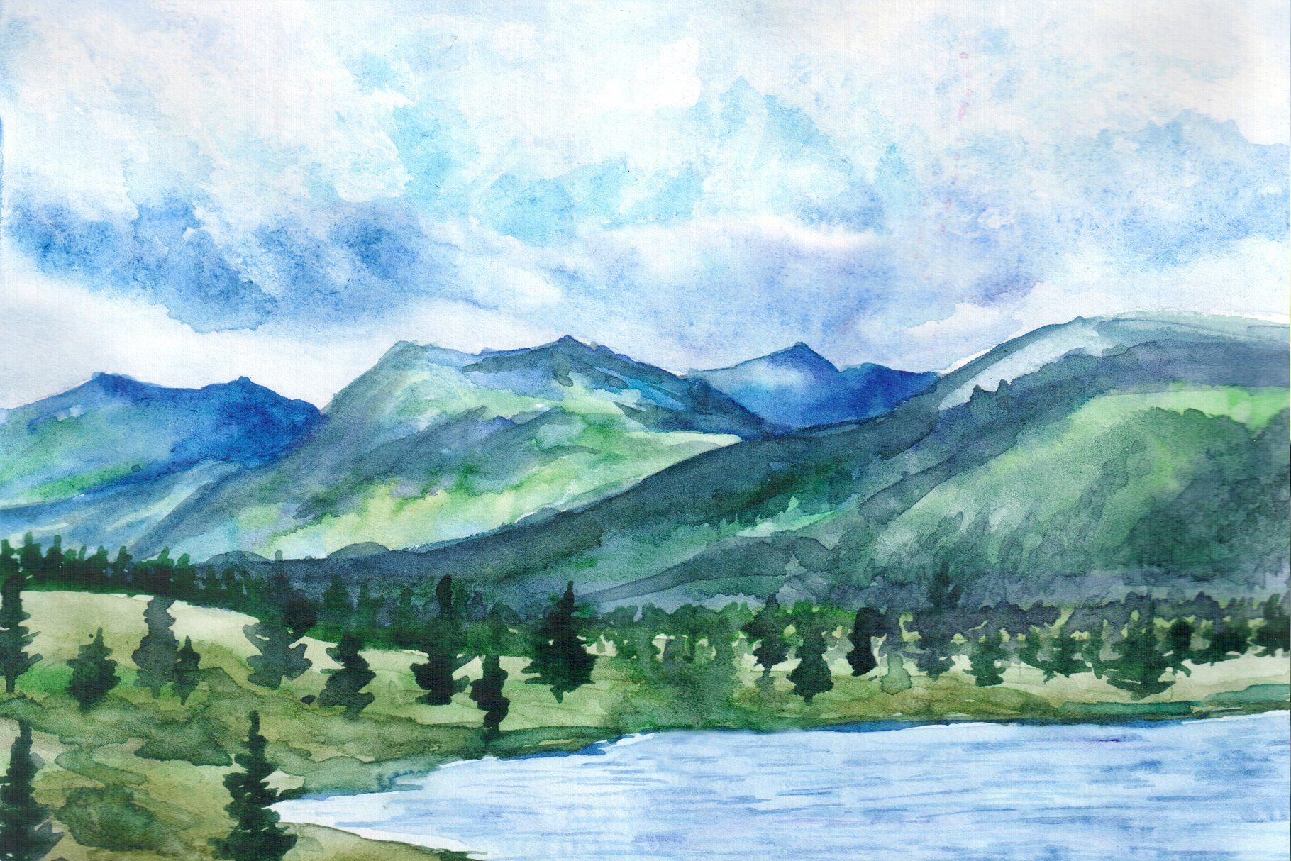 Watercolor Landscapes Mountains Watercolor Landscape