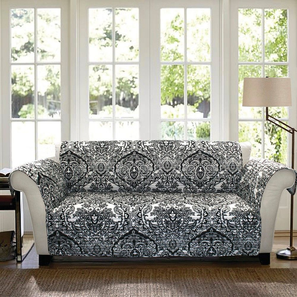 Black White Black White Aubree Furniture Protecto Sofa  # Muebles Rizzoli