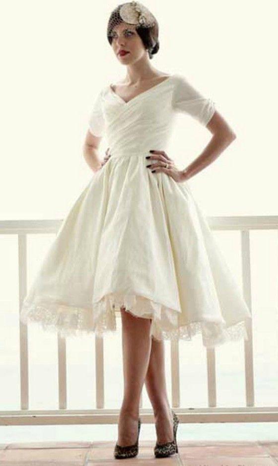 Vintage Tea-length Wedding Dress for Older Brides Over 40, 50, 60 ...