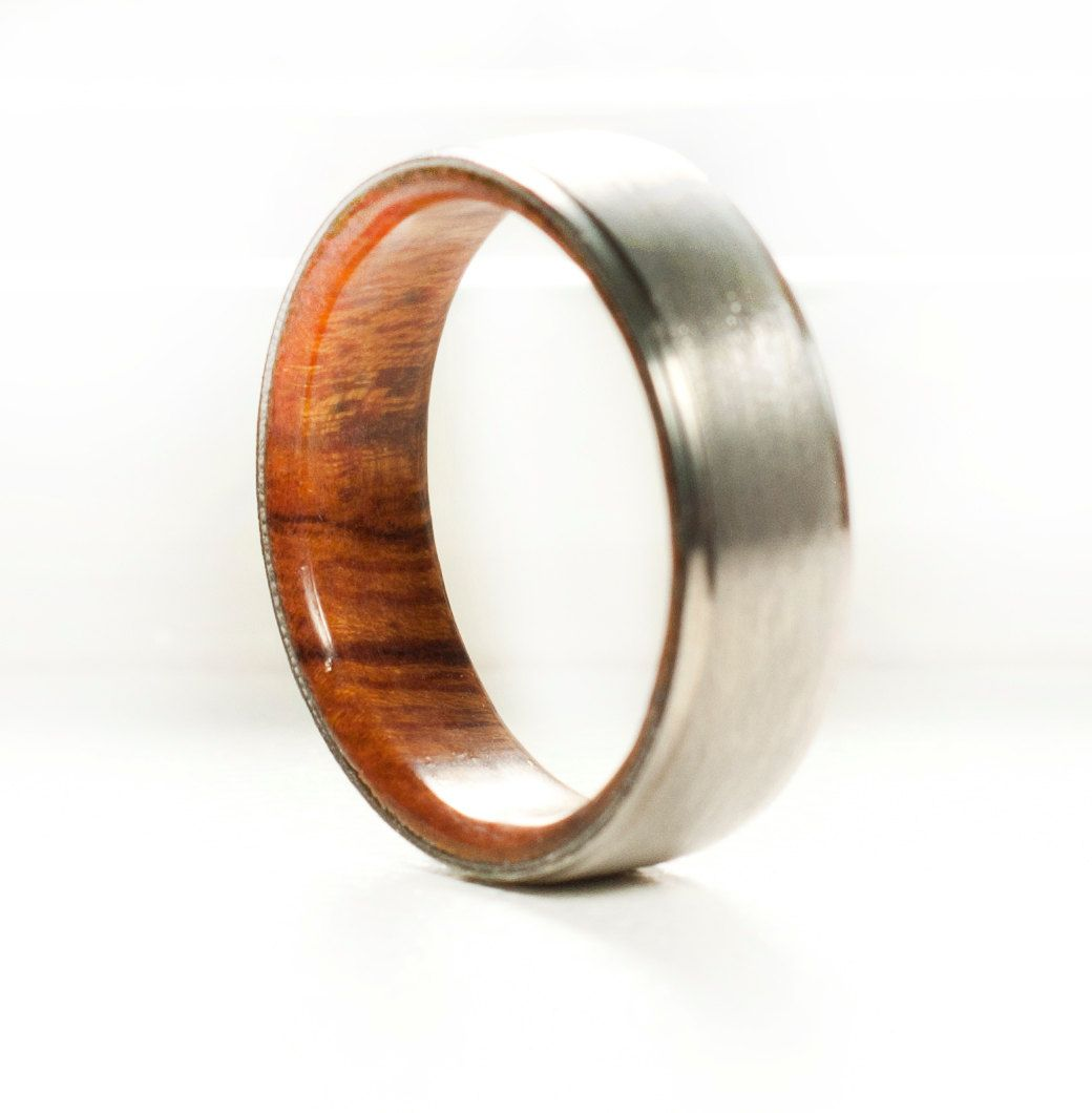 mens wood lined wedding ring / titanium ring , silver ring. mens