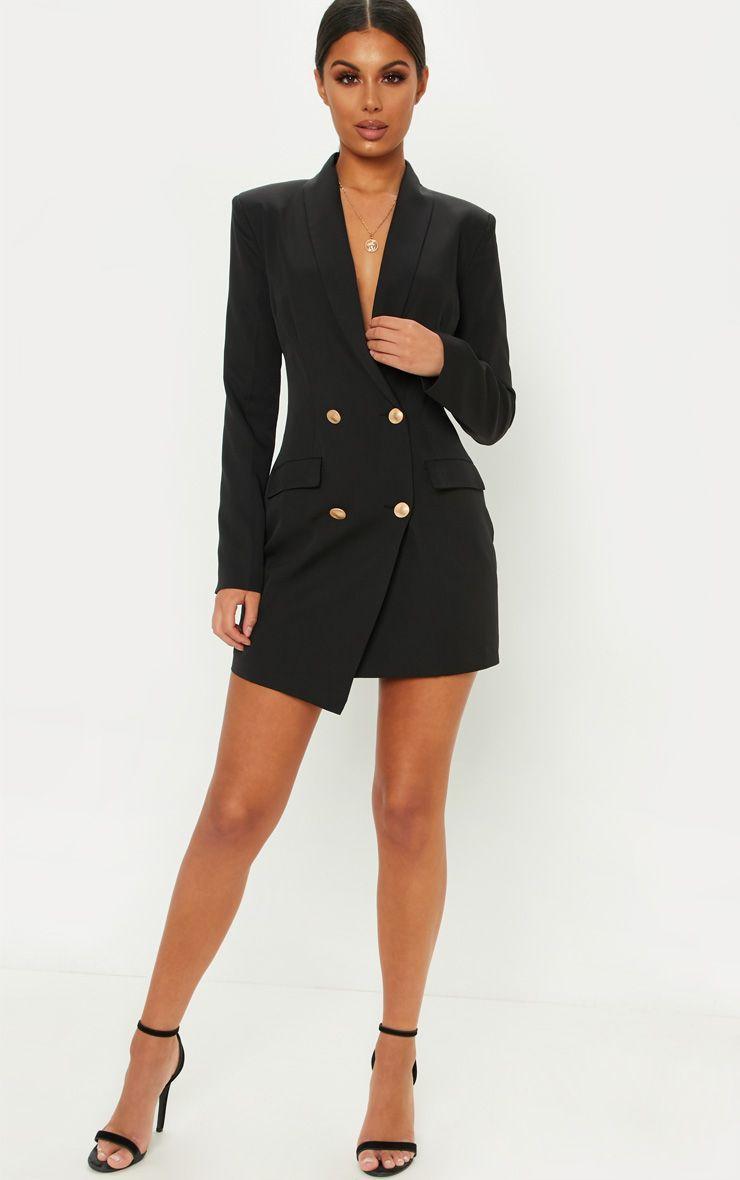 Coral Gold Button Blazer Dress Blazer Dress Outfits Blazer Dress Black Suit Dress [ 1180 x 740 Pixel ]
