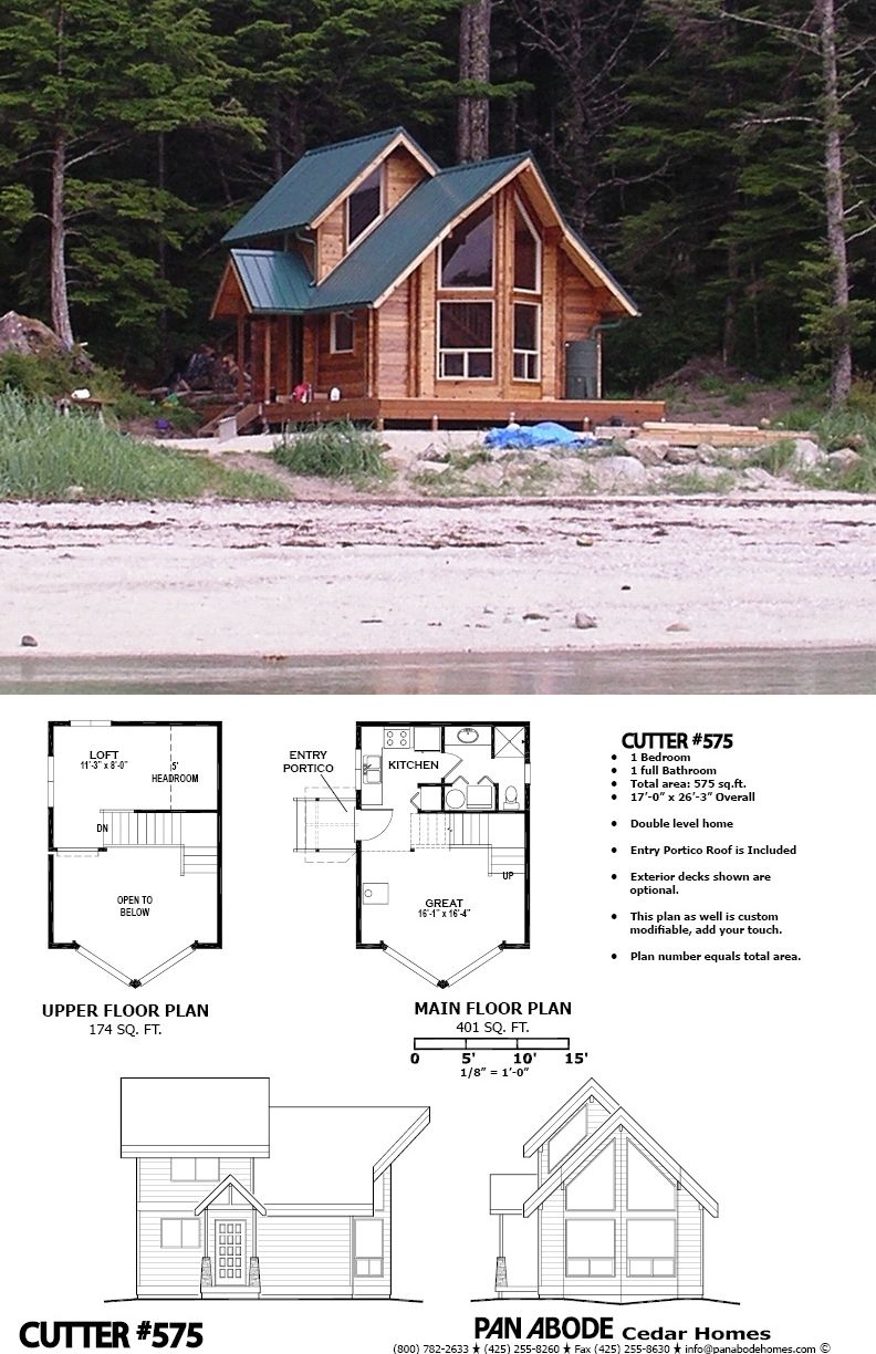 A Cozy Cabin That S A Kit It S 575 Sq Ft And Made From Cedar Part Of The Horizon View Series From Pan Adobe Ce Cedar Homes House Layouts Tiny House Plans