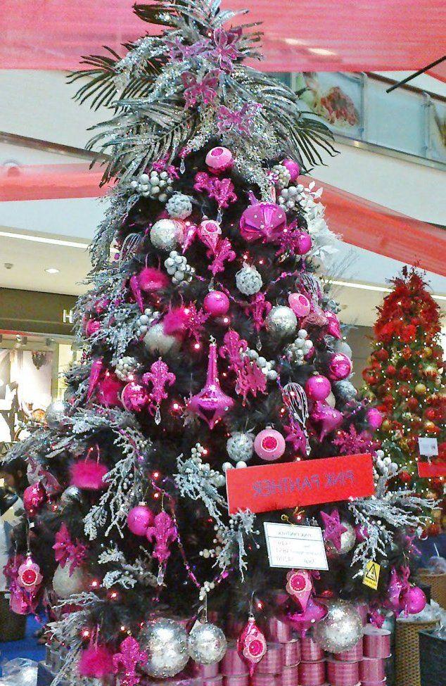 Decoraciones navide as en fucsia y plateado rbol de - Arbol de navidad morado ...
