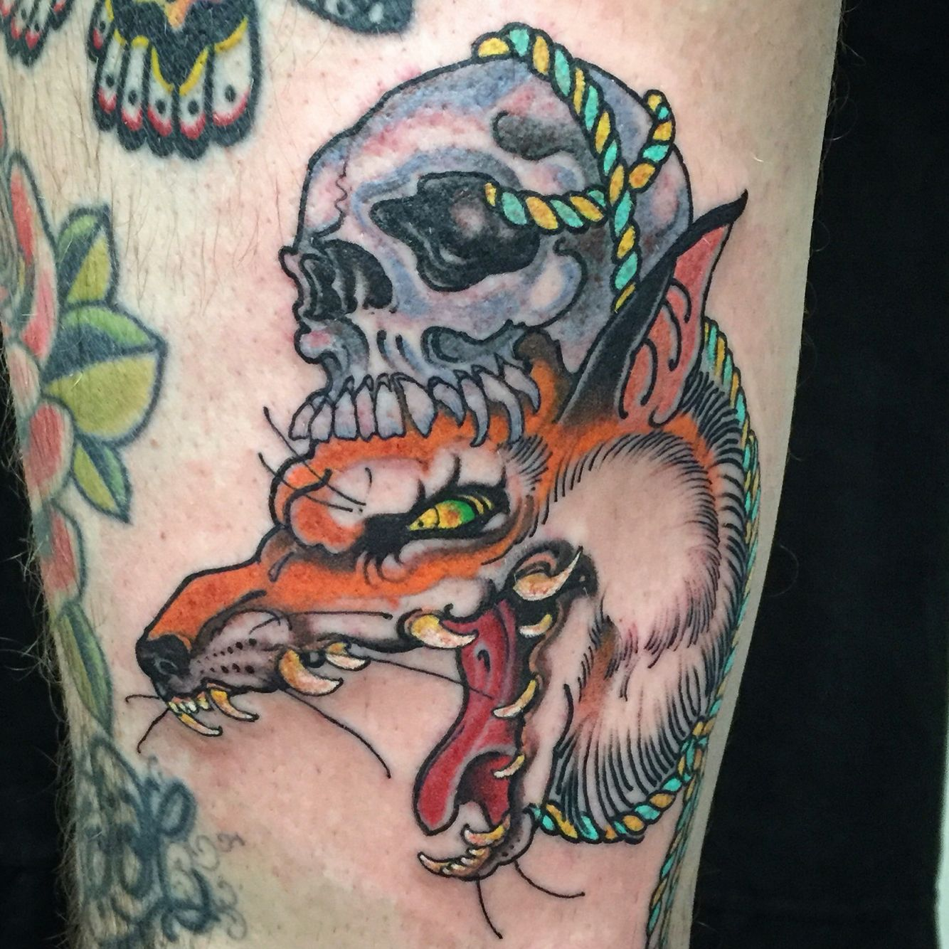 Traditional Kitsune Tattoo: #larascotton #larascottontattoos #kitsune #nyc