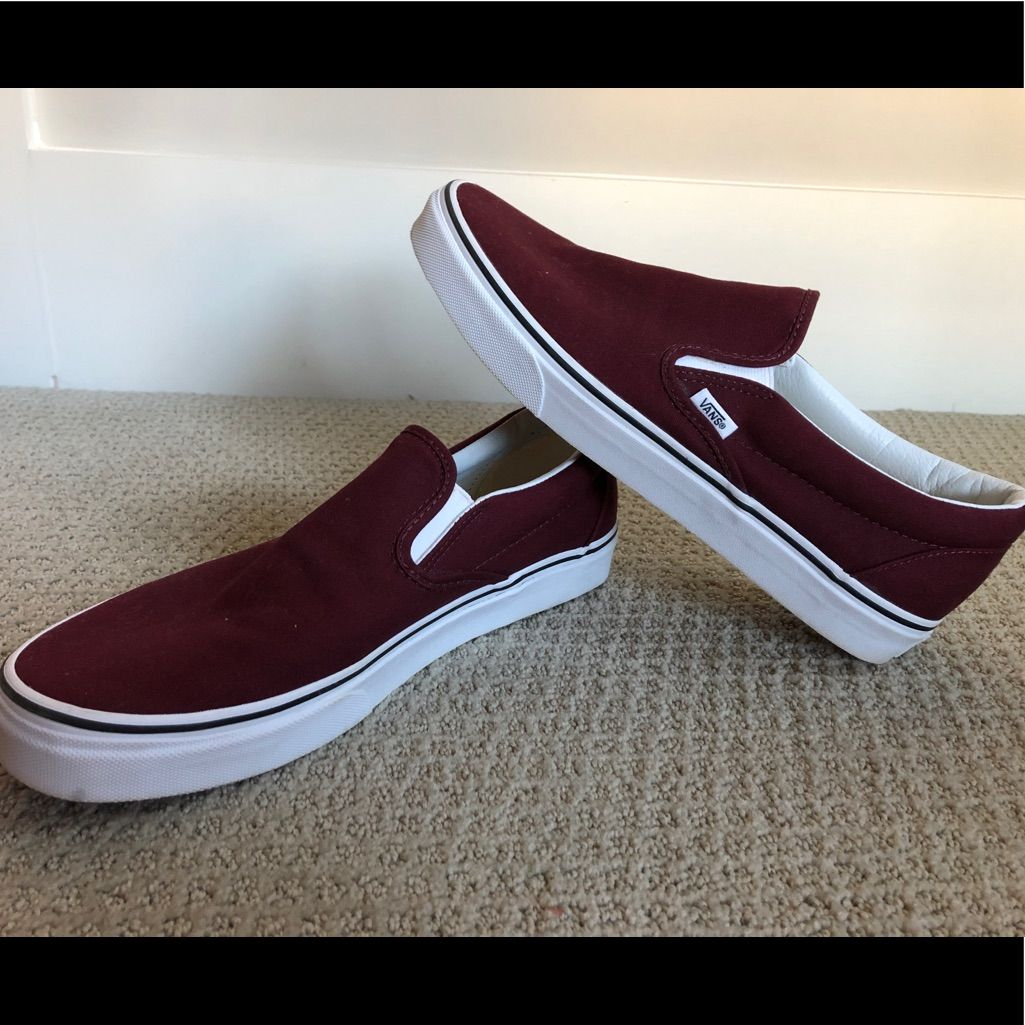 Vans Shoes Maroon Slip On Vans Color Red Size 11 Slip On