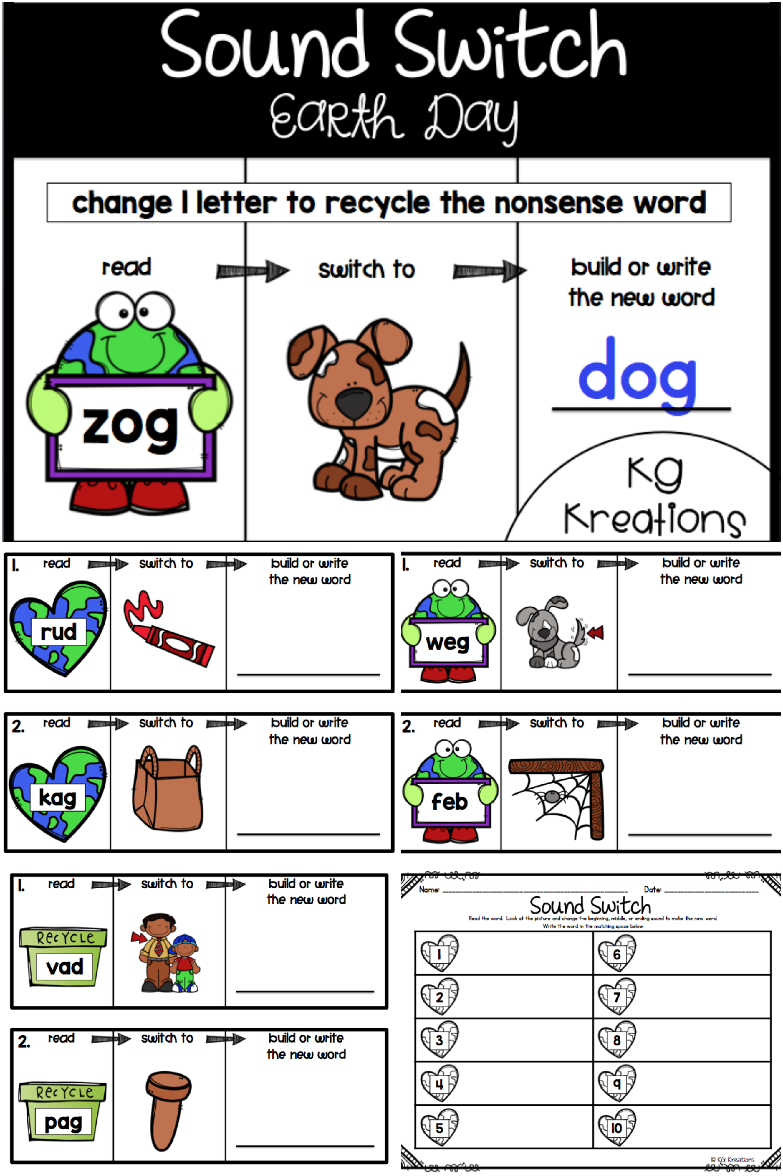 Phoneme Substitution Earth Day Nonsense Words Cvc Words Phoneme Substitution Activities [ 3992 x 2659 Pixel ]