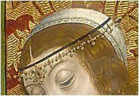 Decorated band over cofia   Las bodas de Canaan (detail). Maestro de los Reyes Catolicos, 1496. Satterwhite Collection, New York. USA.