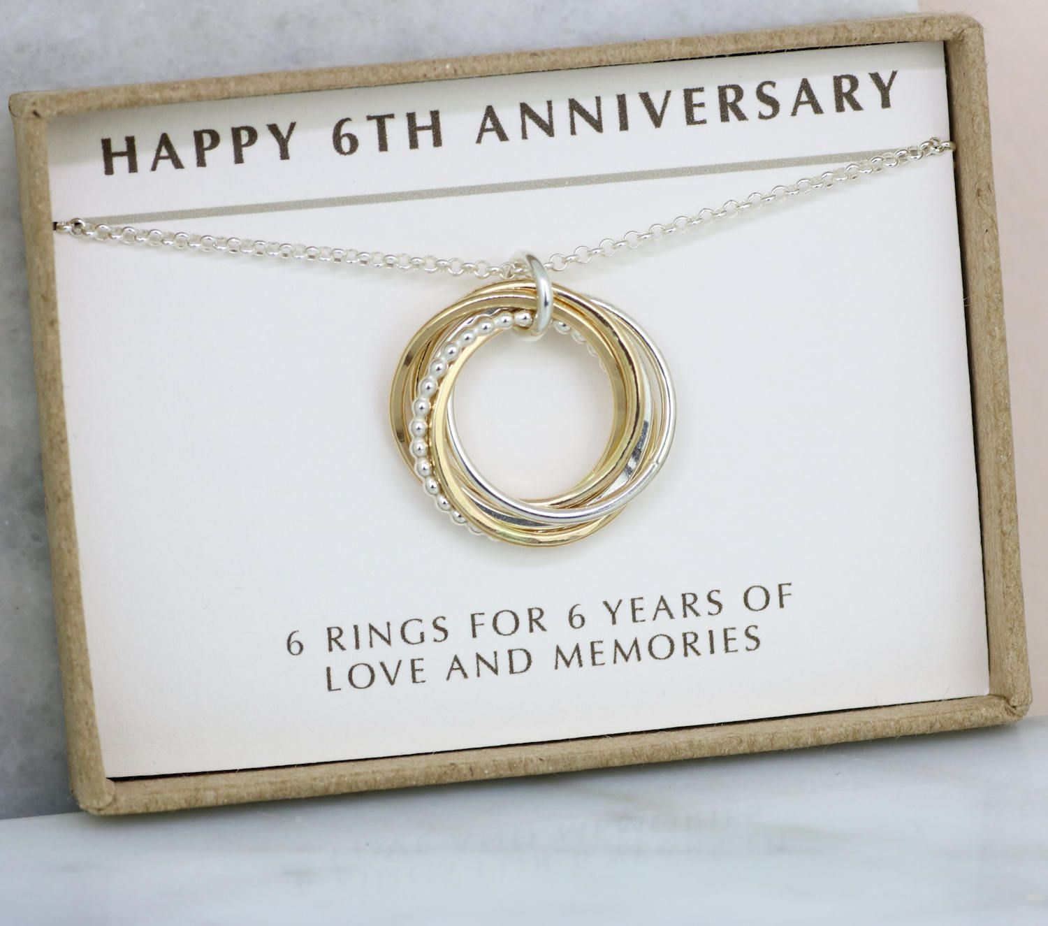 6th Anniversary Gift For Her 6 Year Anniversary Gift For Wife 6 Interlocking Rings Anniversary Gift For Friends 5 Year Anniversary Gift 6th Anniversary Gifts