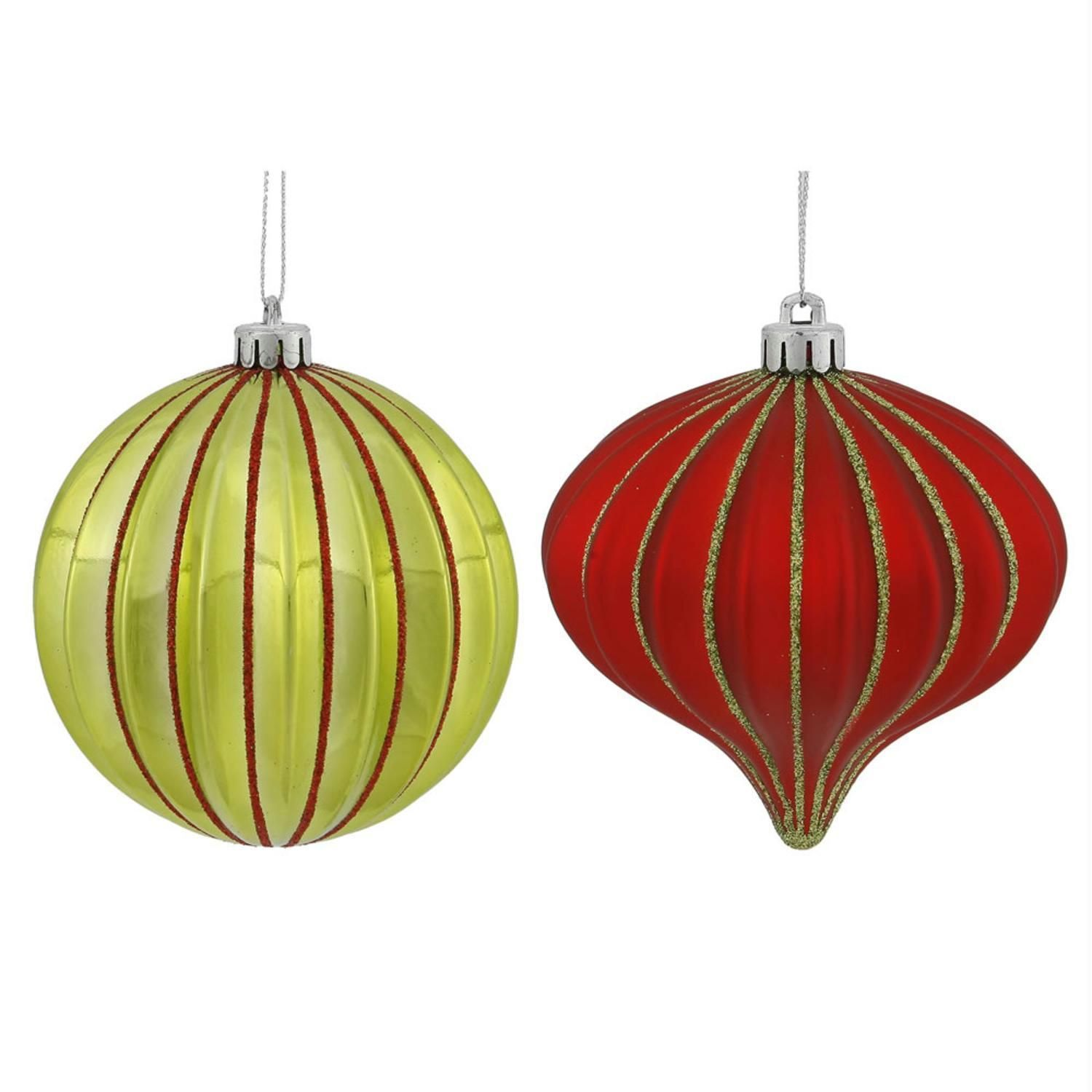 9Ct Lime Green & Red Glitter Striped Shatterproof Onion And