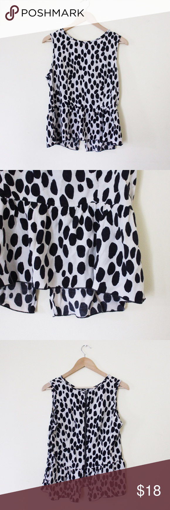 Polka dot blouse Peplum polka dot blouse. Back zipper. Good condition! Size 12, but closer to an 8/10. H&M Tops Tank Tops