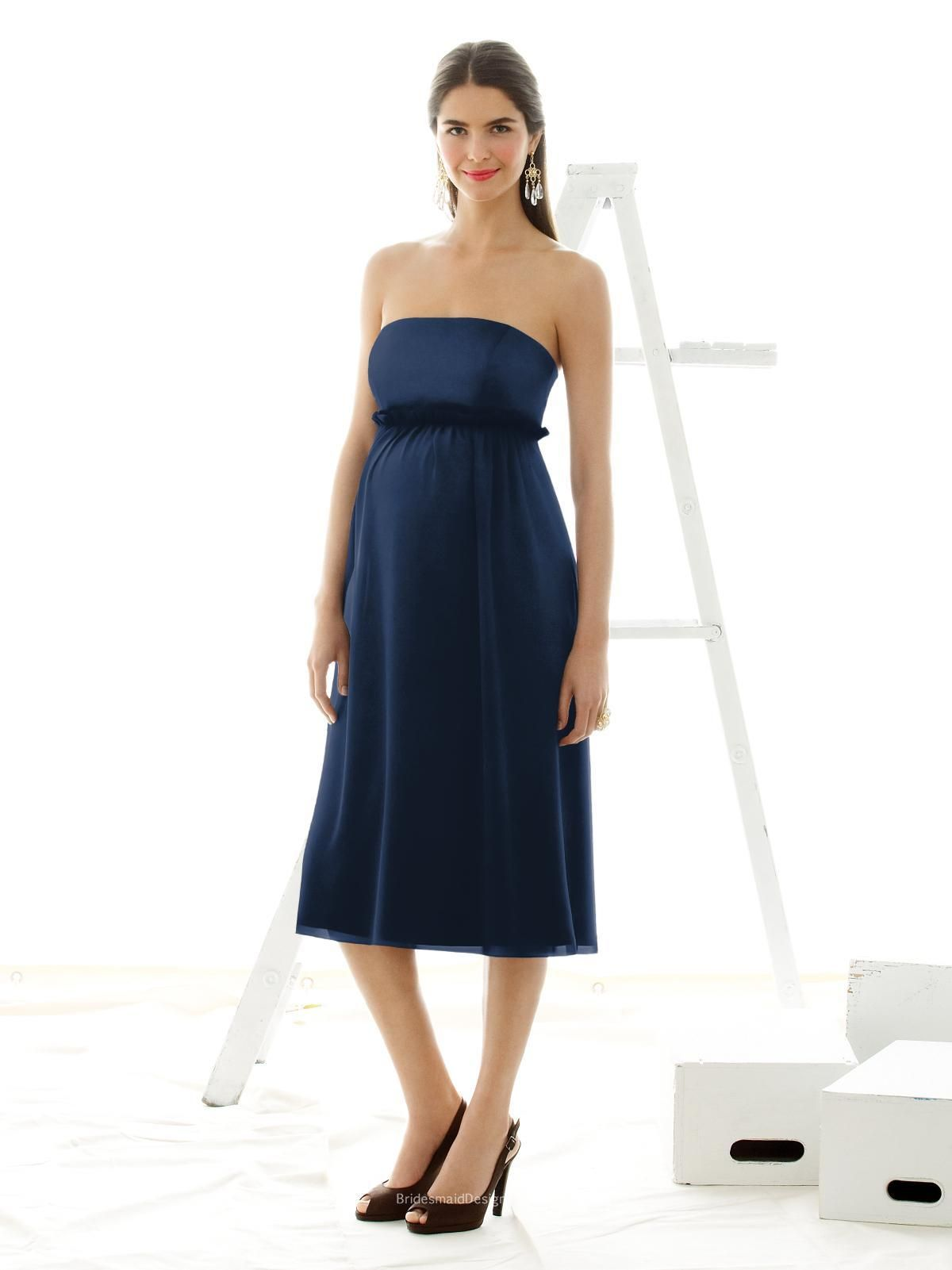 Perfect navy blue tea length sleeveless maternity bridesmaid dress perfect navy blue tea length sleeveless maternity bridesmaid dress has duchess satin bodice nu ombrellifo Images