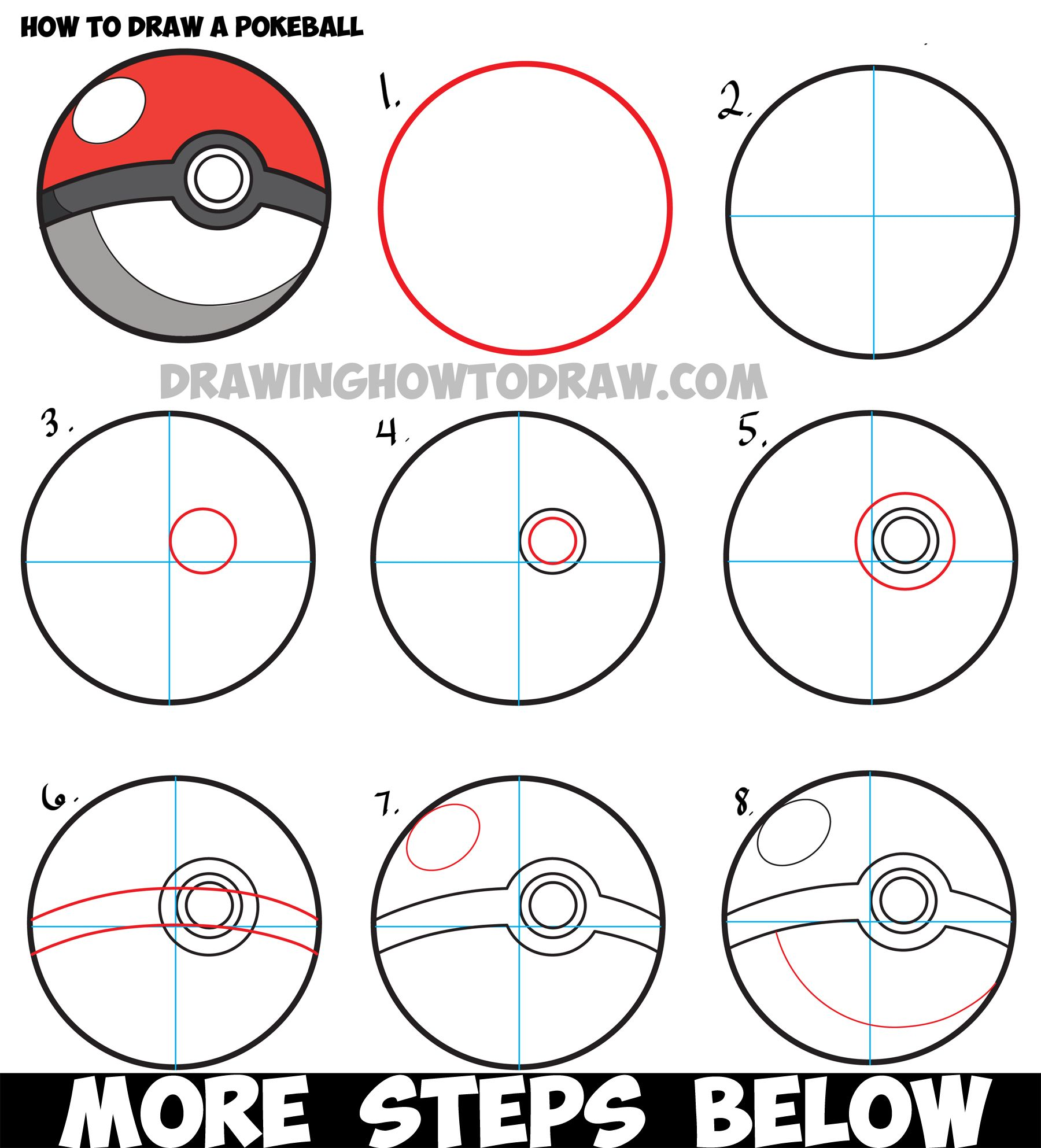 How To Draw A Pokeball From Pokemon  Easy Step By Step Drawing Tutorial