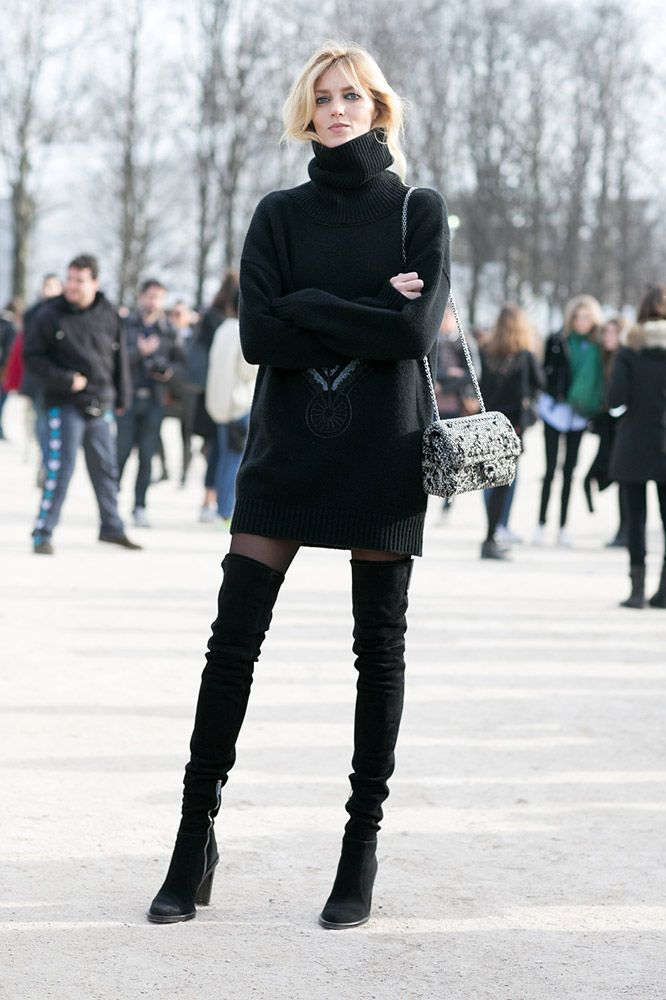 7b7bfaff7735 Street style stars show us how to wear over-the-knee boots with ease.