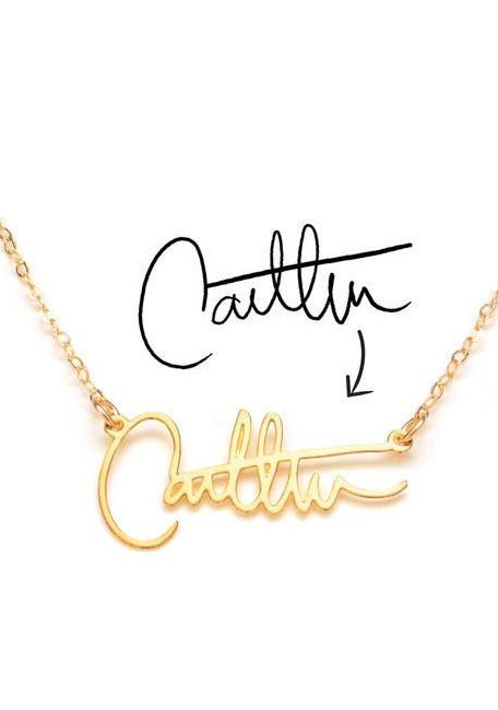 Turn your signature into personal custom one of a kind necklace