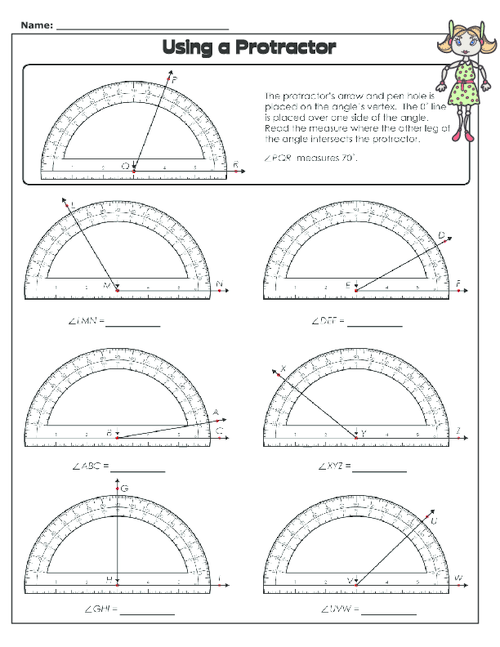 using a protractor math 1 math fourth grade math worksheets. Black Bedroom Furniture Sets. Home Design Ideas