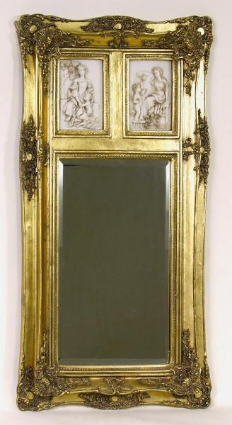 Gold frame wall mirror with cherub inserts for Unique wall frames