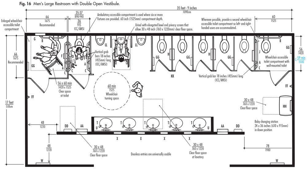 Large Public Restrooms | Toilet plan, Bathroom floor plans ...
