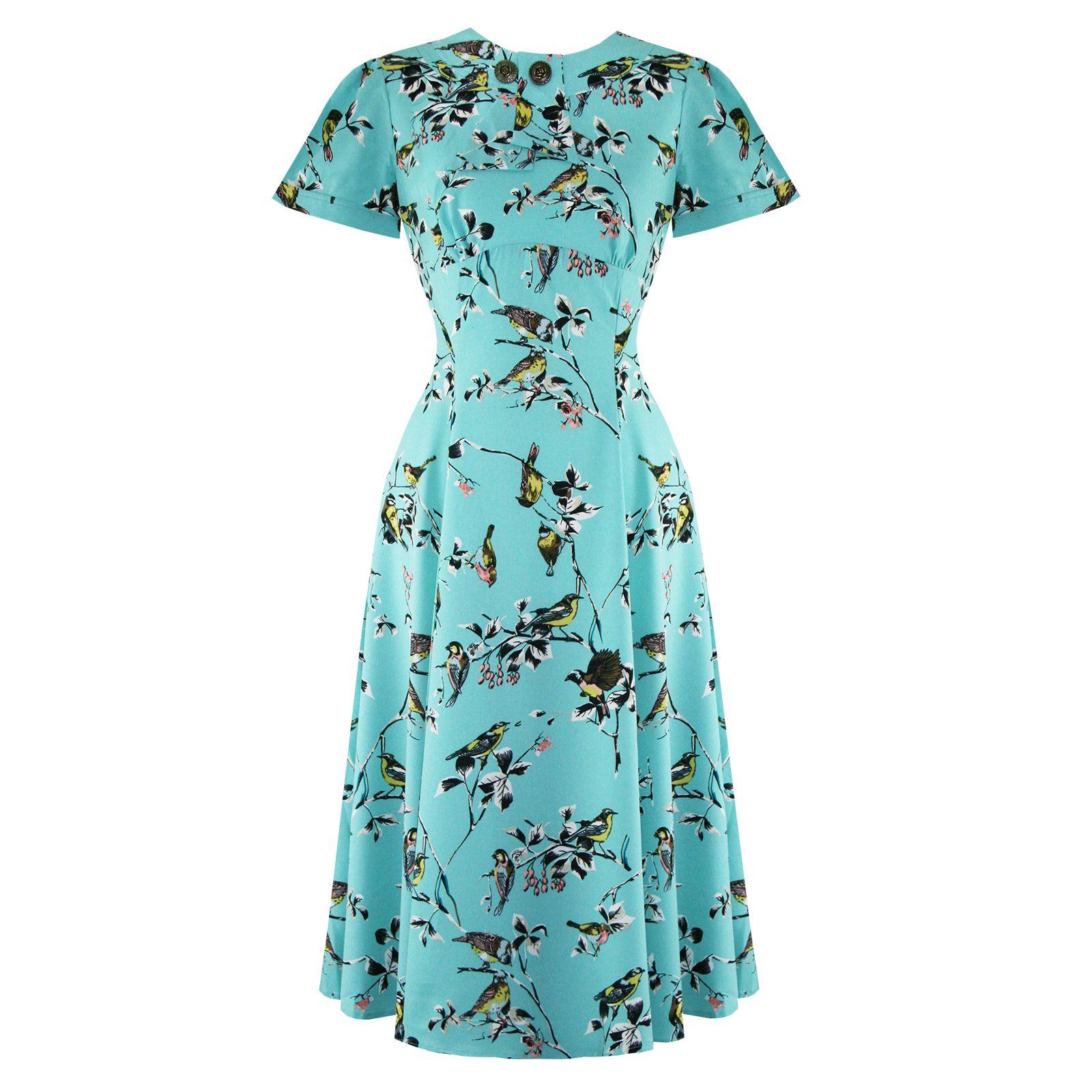 Hell Bunny Bird Print 1940s Wartime WW2 Summer Tea Party Sun Dress ...