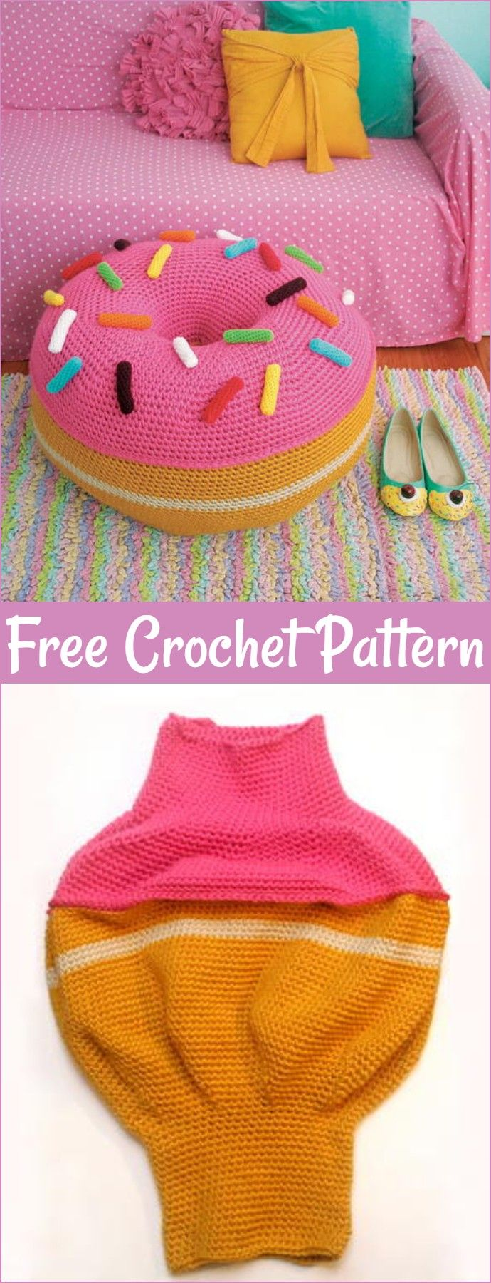 Crochet Pouf Patterns,Free Crochet Sugar High Donut Pouf-It would not be wrong to say that the crochet floor pouf patterns are so much functional and their versatility is unlimited and they are here.#CrochetFloorPouf #crochetpatterns #freecrochetpatterns